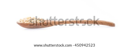 wood spoon of Barley rice isolated on white background - stock photo
