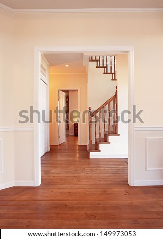 wood stairs and handrail - stock photo