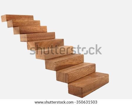 Wood stairway isolated - stock photo
