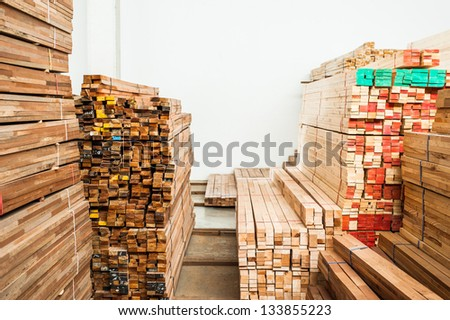 Wood stored, cut and marked size - stock photo