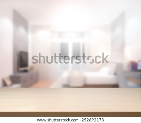 Wood Table  Top Background In the Bedroom - stock photo
