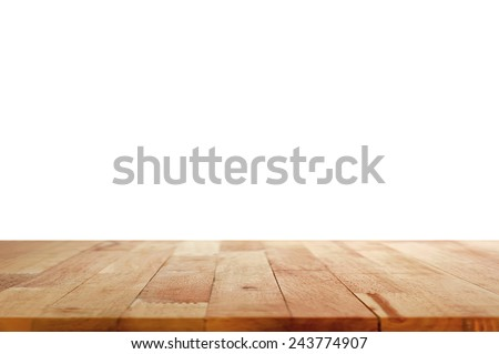 Wood table top on white background - stock photo