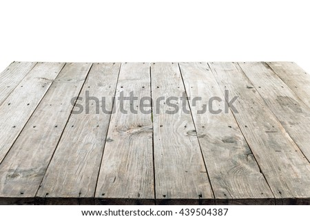 wood table top on white background, can be used for display or montage your product - stock photo