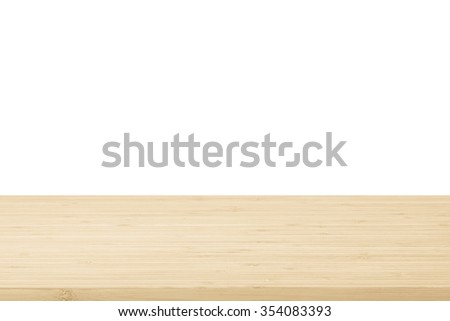 Wood table top texture in light natural cream beige brown color tone isolated on white background: Wooden tabletop textured pattern backdrop in creme toned colour for interior/ product display  - stock photo