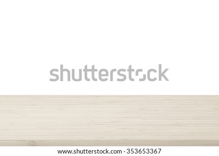 Wood table top texture in light natural sepia cream brown color tone isolated on white background: Wooden tabletop textured pattern backdrop in tan toned colour for interior/ product display   - stock photo