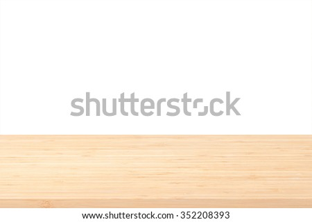 Wood table top texture in light natural yellow cream beige brown color tone isolated on white background: Wooden tabletop textured pattern backdrop in creme toned colour for interior/ product display  - stock photo