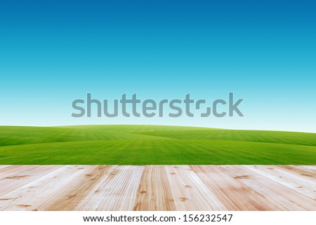 Wood terrace and blue sky - stock photo