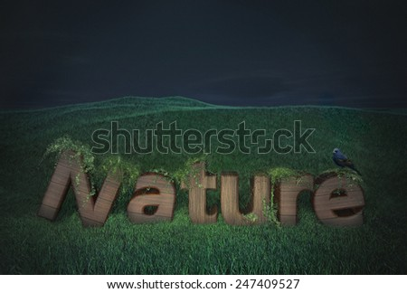 wood text nature tree green symbol eco business type wooden logo banner pattern ecology font - stock photo