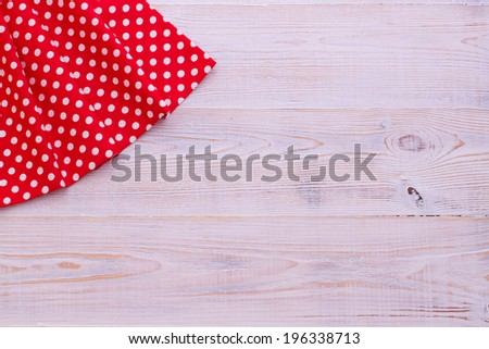 Wood texture background. Pure notebook for recording menu, recipe on red checkered tablecloth tartan. Wooden table close up view from top  - stock photo