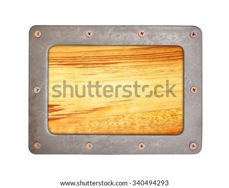 Wood  texture background with steel frame and screws - stock photo