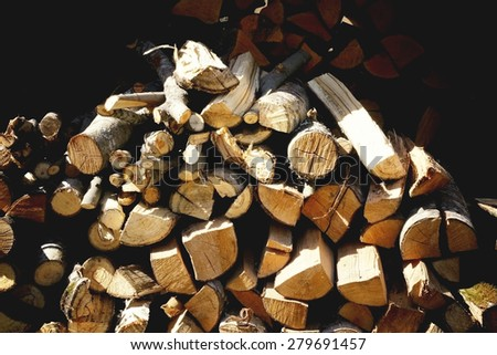 wood texture firewood - stock photo