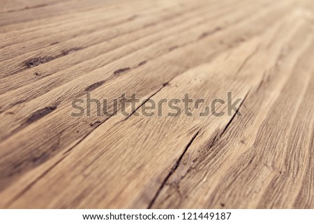 Wood Texture, Wooden Plank Grain Background, Desk in Perspective Close Up, Striped Timber, Old Table or Floor Board - stock photo