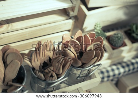 wood  traditional fork spoon palettes kitchenware - stock photo