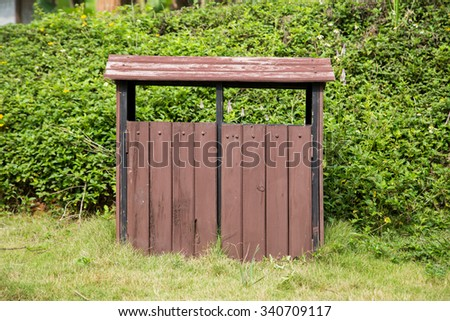 Wood trash bin in the park in Hanoi, Vietnam - stock photo