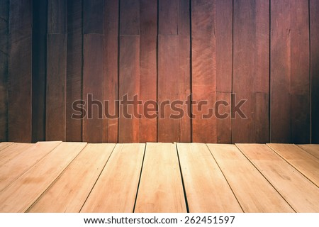 Wood wall and floor, vintage color tone. - stock photo