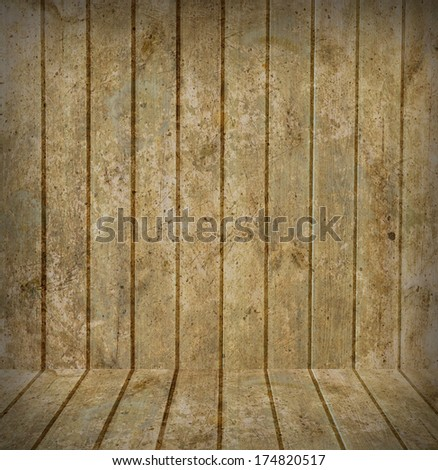 wood wall and wood floor texture interior  - stock photo