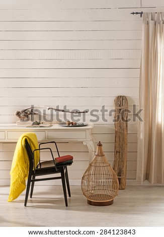 wood wall study nook in contemporary living room - stock photo