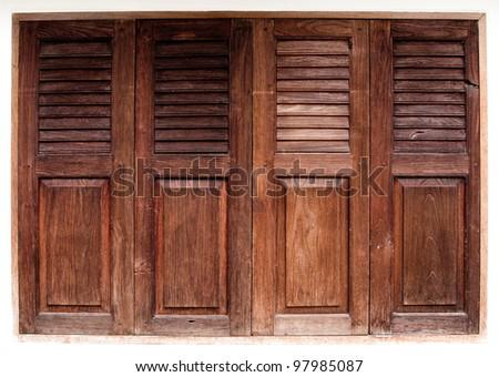 wood windows - stock photo