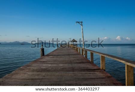 Woodbridge into the sea in tropical beach, Koh Mak at Trad, Thailand - stock photo