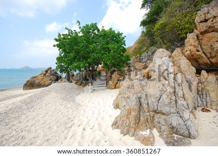 Woodbridge, walkway beside the sea, sight seeing,Koh Kham, Cholburi, Thiland  - stock photo