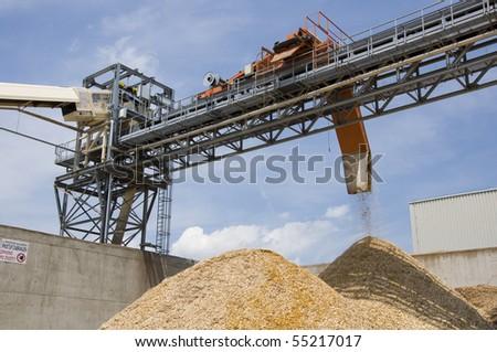 Woodchip production - stock photo