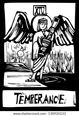 Woodcut expressionist style Tarot card for the image of Temperance - stock photo