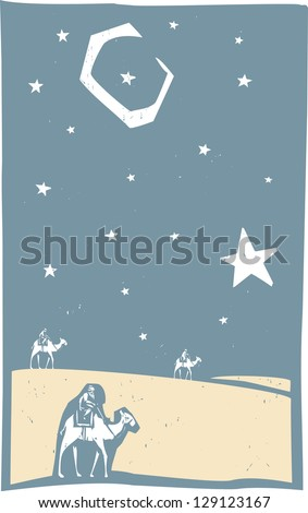 Woodcut print style image of the three wise men Christmas - stock photo