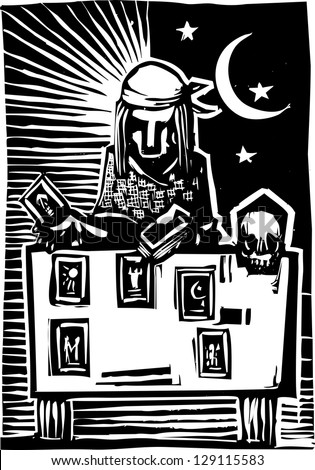 Woodcut style image of a gypsy giving a tarot reading. - stock photo