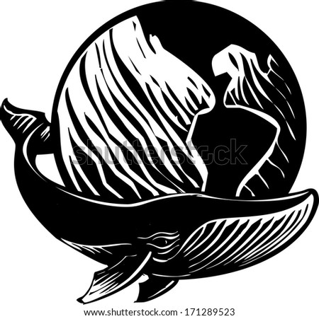 Woodcut style image of a whale and the Earth. - stock photo