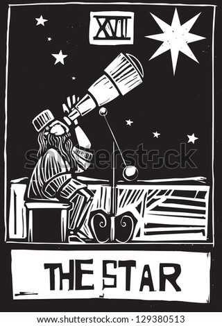 Woodcut style Tarot card for the Star. - stock photo