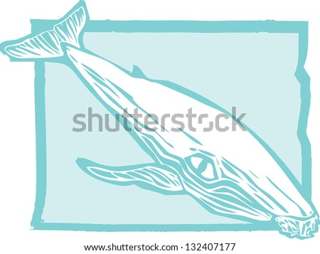 Woodcut vintage style image of a humpback whale. - stock photo