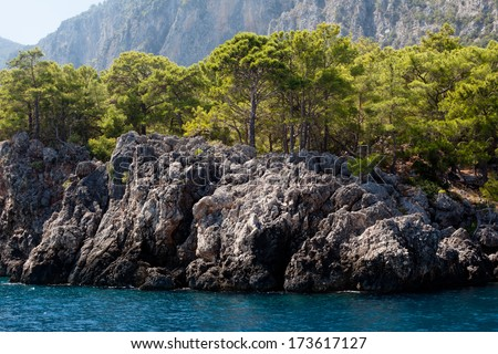 Wooded mountain and sea in Asia Minor  - stock photo