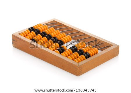 Wooden abacus. Isolated on white background - stock photo