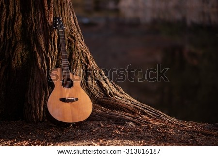 Wooden Acoustic Guitar and the Tree Music Concept Photo. - stock photo