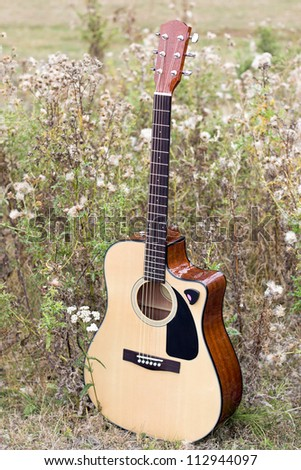 Wooden acoustic guitar on a field - stock photo