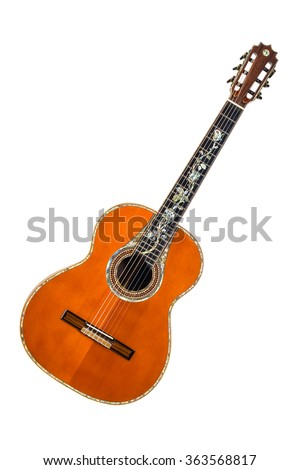 wooden acoustic guitar with inlay on the fretboard on a white background - stock photo