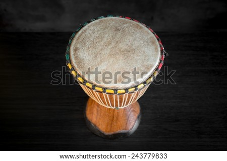 Wooden African Djembe - handmade drum - stock photo