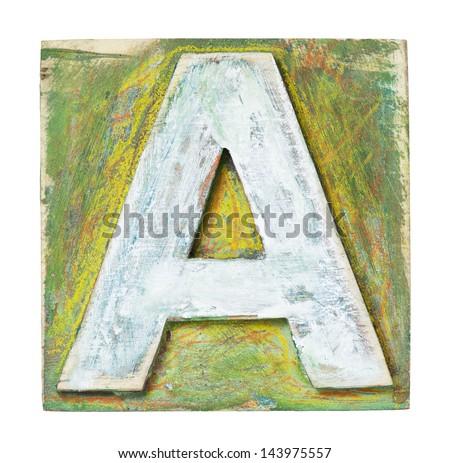Wooden alphabet block, letter A - stock photo