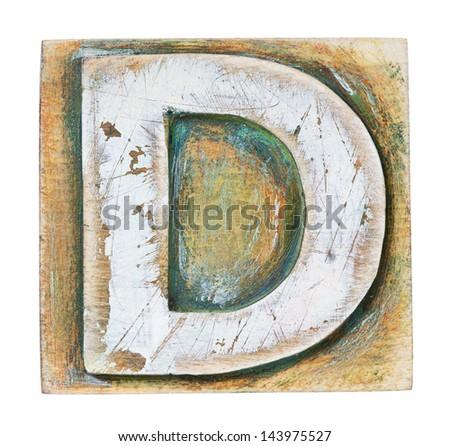 Wooden alphabet block, letter D - stock photo