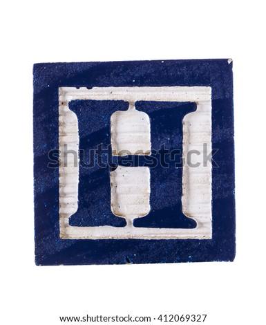 Wooden alphabet block letter H isolated on white - stock photo