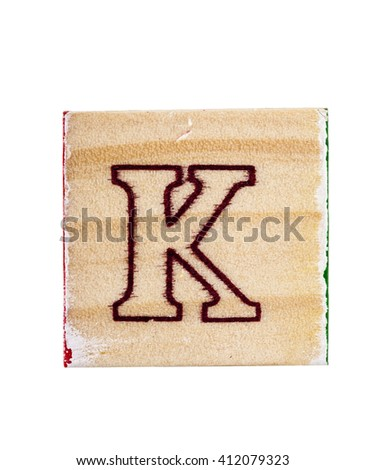 Wooden alphabet  block letter K isolated on white - stock photo