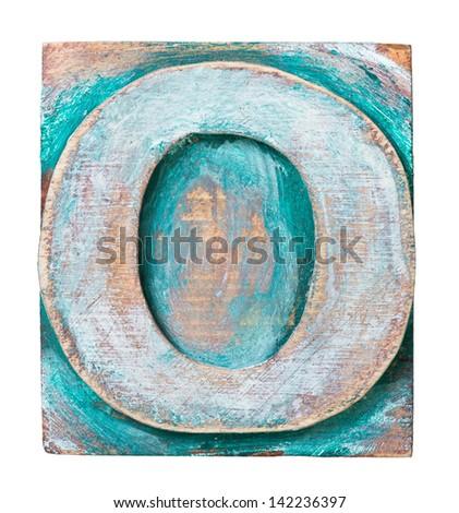 Wooden alphabet block, letter O - stock photo