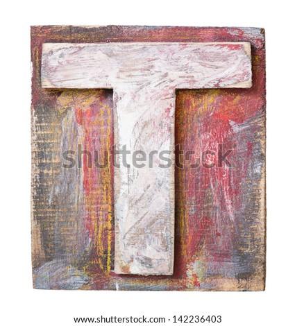 Wooden alphabet block, letter T - stock photo