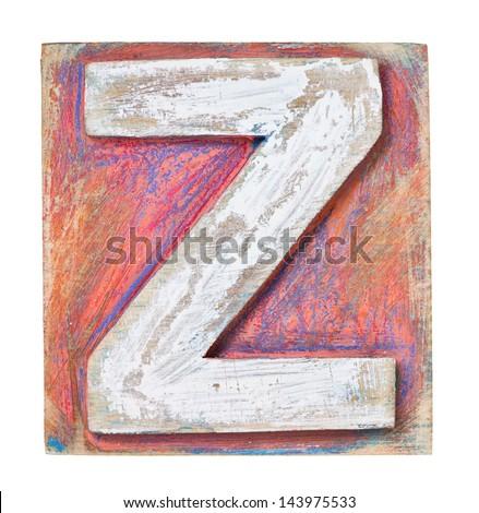 Wooden alphabet block, letter Z - stock photo