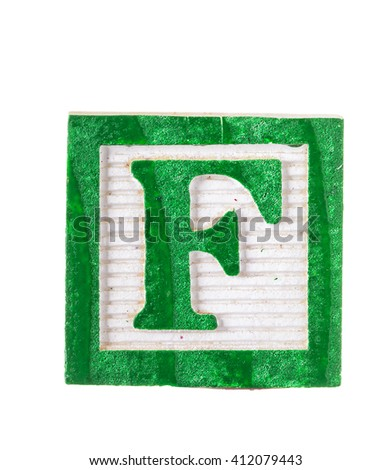 Wooden alphabet block with letter F isolated on white - stock photo
