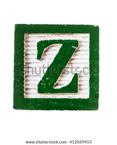 Wooden  alphabet block with letter Z isolated on white - stock photo