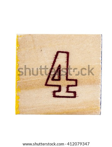 Wooden alphabet block with number 4 isolated on white - stock photo