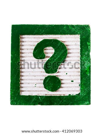 Wooden alphabet block with question mark ? symbol isolated on white - stock photo