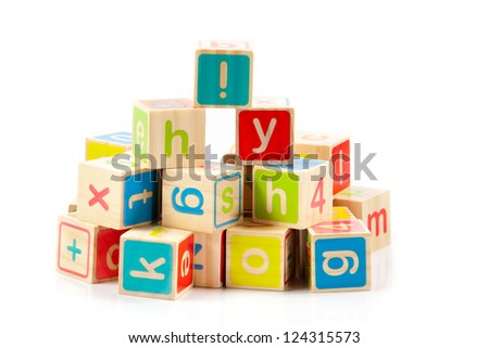 Wooden alphabet blocks. - stock photo