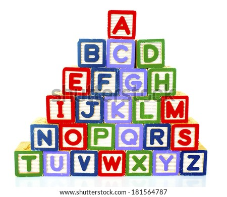 Wooden Alphabet Blocks   - stock photo